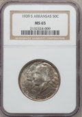Commemorative Silver: , 1939-S 50C Arkansas MS65 NGC. NGC Census: (169/56). PCGS Population(218/90). Mintage: 2,105. Numismedia Wsl. Price for pro...
