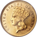 Three Dollar Gold Pieces, 1886 $3 AU55 Prooflike NGC....