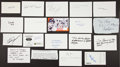 Autographs:Index Cards, Sports and Celebrity Legends Signed Index Card Lot Of 19. ...