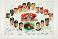 Baseball Collectibles:Others, World Series Most Valuable Players Multi Signed Canvas Print....