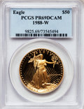 Modern Bullion Coins: , 1988-W G$50 One-Ounce Gold Eagle PR69 Deep Cameo PCGS. PCGSPopulation (3599/238). NGC Census: (1868/884). Mintage: 87,133....
