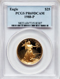 Modern Bullion Coins: , 1988-P G$25 Half-Ounce Gold Eagle PR69 Deep Cameo PCGS. PCGSPopulation (3366/121). NGC Census: (2351/487). Mintage: 76,528...