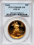 Modern Bullion Coins: , 1990-W G$50 One-Ounce Gold Eagle PR69 Deep Cameo PCGS. PCGSPopulation (2979/146). NGC Census: (1674/641). Mintage: 62,401....
