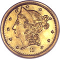 California Fractional Gold, 1853 50C Liberty Round 50 Cents, BG-420, Low R.7, MS62 PCGS....