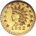 California Fractional Gold, 1882 25C Indian Round 25 Cents, BG-892, High R.7, MS66 PCGS....