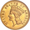 Three Dollar Gold Pieces, 1857-S $3 XF45 ANACS....