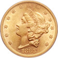 Liberty Double Eagles, 1865 $20 AU58 PCGS....