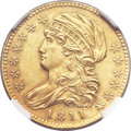 Early Half Eagles, 1811 $5 Small 5 -- Obverse Damage -- NGC Details. AU. Breen-6464,BD-2, R.3....