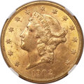 Liberty Double Eagles, 1902 $20 MS61 NGC....
