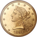 Liberty Eagles, 1891-CC $10 MS62 Prooflike NGC. FS-501, Variety 4-C....