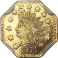 California Fractional Gold, 1874 $1 Indian Octagonal 1 Dollar, BG-1124, High R.4, MS65Prooflike NGC....