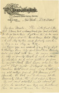 Basketball Collectibles:Others, 1908 James Naismith Handwritten Signed Letter with Signed Envelope.. Date: December 29, 1908.. Location: New York, New Y...