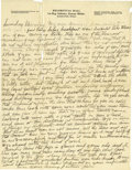 Basketball Collectibles:Others, Circa 1916 James Naismith Handwritten Signed Letter.. Date: Undated, but likely 1916 due to location.. Location: Eagle P...