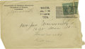 Basketball Collectibles:Others, 1916 James Naismith Signed Note with Signed Envelope.. Date: July7, 1916.. Location: Waco, Texas.. Length in pages: P...