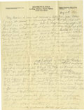 Basketball Collectibles:Others, 1916 James Naismith Handwritten Signed Letter.. Date: August 10,1916.. Location: Eagle Pass, Texas.. Length in pages:...