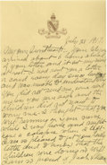 Basketball Collectibles:Others, 1917 James Naismith Handwritten Signed Letter with Signed Envelope.. Date: July 28, 1917.. Location: San Francisco, Cali...