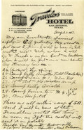 Basketball Collectibles:Others, 1917 James Naismith Handwritten Signed Letter with SignedEnvelope.. Date: August 25, 1917.. Location: San Antonio, Texa...