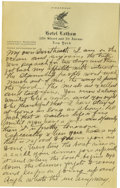 Basketball Collectibles:Others, 1917 James Naismith Handwritten Signed Letter with SignedEnvelope.. Date: September 26, 1917.. Location: En route to Fr...