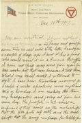 """Basketball Collectibles:Others, 1917 James Naismith Handwritten Letter.. Date: December 19, 1917.. Location: France.. Length in pages: Four, on """"YMCA ..."""