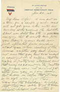 Basketball Collectibles:Others, 1918 James Naismith Handwritten Signed Letter.. Date: January 23,1918.. Location: France.. Length in pages: Three, on...