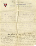Basketball Collectibles:Others, 1918 James Naismith Handwritten Signed Letter with SignedEnvelope.. Date: February 15, 1918.. Location: France.. Leng...