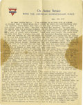 """Basketball Collectibles:Others, 1918 James Naismith Typed Letter.. Date: March 23, 1918.. Location: France.. Length in pages: Two, on """"YMCA American E..."""