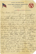Basketball Collectibles:Others, 1918 James Naismith Handwritten Signed Letter.. Date: April 1918 (dated by daughter Hellen).. Location: France.. Lengt...