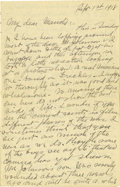 Basketball Collectibles:Others, 1918 James Naismith Handwritten Signed Letter with SignedEnvelope.. Date: September 1, 1918.. Location: France.. Leng...