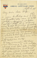 Basketball Collectibles:Others, 1918 James Naismith Handwritten Signed Letter with SignedEnvelope.. Date: September 6, 1918.. Location: France.. Leng...