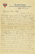 Basketball Collectibles:Others, 1918 James Naismith Handwritten Signed Letter with Signed Envelope.. Date: October 7, 1918.. Location: France.. Length...