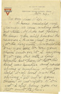Basketball Collectibles:Others, 1918 James Naismith Handwritten Signed Letter.. Date: October 24,1918.. Location: France.. Length in pages: Eight, on...