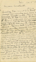 Basketball Collectibles:Others, 1918 James Naismith Handwritten Signed Letter with SignedEnvelope.. Date: December 8, 1918.. Location: France.. Lengt...