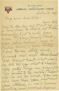Basketball Collectibles:Others, 1919 James Naismith Handwritten Signed Letter with SignedEnvelope.. Date: February 16, 1919.. Location: France (no city...