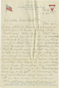 Basketball Collectibles:Others, 1919 James Naismith Handwritten Signed Letter with SignedEnvelope.. Date: March 28, 1919.. Location: Paris, France.. ...