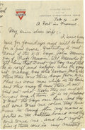 Basketball Collectibles:Others, 1918 James Naismith Handwritten Signed Letter.. Date: February 4, 1918.. Location: A Port in France.. Length in pages:...