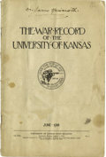 """Basketball Collectibles:Others, 1918 James Naismith Signed Pamphlet & His Personal Universityof Kansas Tie Tack. Thirty-six page publication entitled """"The..."""