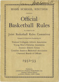 "Autographs:Letters, 1932-33 James Naismith Signed ""Official Basketball Rules."" Direct from Naismith's library, this thirty-two pages softcover ..."