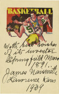 "Basketball Collectibles:Others, 1939 James Naismith Signed ""Basketball"" Card. Text reads, ""With best wishes of its inventor, Springfield, Mass., 1891. Jam..."
