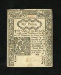 Colonial Notes:Connecticut, Connecticut June 19, 1776 6d New. A lightly tape repaired note thatgives the appearance of being very nice....
