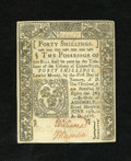 Colonial Notes:Connecticut, Connecticut June 19, 1776 40s Choice New. An astounding slashcancelled example of this issue that has the margins, embossin...