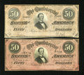 Confederate Notes:1864 Issues, T66 $50 1864.Cr. 495, Cr. 502 Both of these notes are quite crisp with the Cr. 495 being deep pink in color with a partial p... (Total: 2 notes)