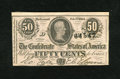 Confederate Notes:1864 Issues, T72 50 Cents 1864. A lone pinhole is noted, but is not distracting. Crisp Uncirculated....