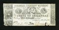 Obsoletes By State:Arkansas, (Little Rock), AR- Arkansas Treasury Warrant $10 August 9, 1864 Cr. 56c. This is one of the latter dated examples of this i...