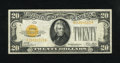Small Size:Gold Certificates, Fr. 2402 $20 1928 Gold Certificate. Very Fine.. This is a choice looking note with a bright yellow overprint....