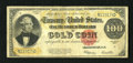 Large Size:Gold Certificates, Fr. 1215 $100 1922 Gold Certificate Very Good-Fine. The colorsremain bright on this Gold C-Note. A couple of miniscule hole...