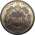 Patterns, 1865 5C Shield Five Cents, Judd-418, Pollock-490, High R.6, PR66PCGS. CAC....
