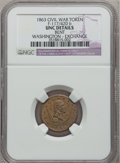 Civil War Patriotics, 1863 Washington-Exchange -- Bent -- Civil War Token NGC Details.Unc. Fuld-117/420b....