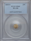 California Fractional Gold: , 1855/4 25C Liberty Octagonal 25 Cents, BG-106, R.3, MS64 PCGS. PCGSPopulation (36/14). NGC Census: (11/9). (#10375)...