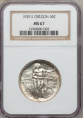 Commemorative Silver: , 1939-S 50C Oregon MS67 NGC. NGC Census: (95/6). PCGS Population(81/7). Mintage: 3,005. Numismedia Wsl. Price for problem f...