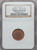 Civil War Patriotics, 1863 Union, Our Card Token MS64 Red and Brown NGC. Fuld-34/277a....